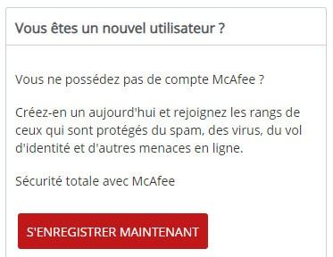 S'inscrire sur McAfee antivirus