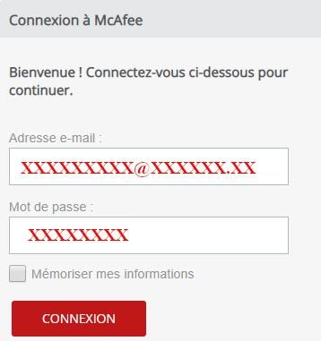 Connexion à l'espace client McAfee