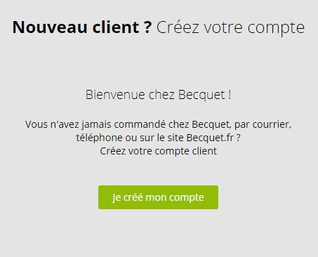 Création de mon compte client Becquet.fr