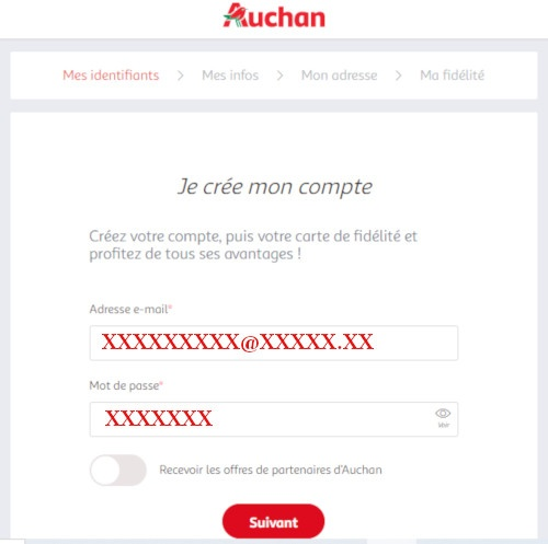création espace client auchan